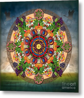 Mandala Armenian Grapes Metal Print