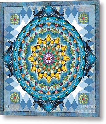 Mandala Blue Crown Metal Print by Bedros Awak