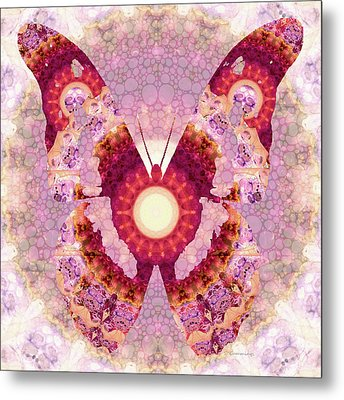 Mandala Butterfly 1 - Art By Sharon Cummings Metal Print by Sharon Cummings
