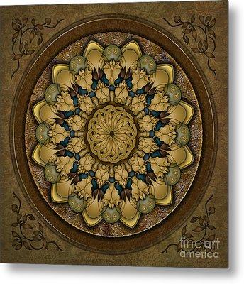 Mandala Earth Shell Metal Print by Bedros Awak