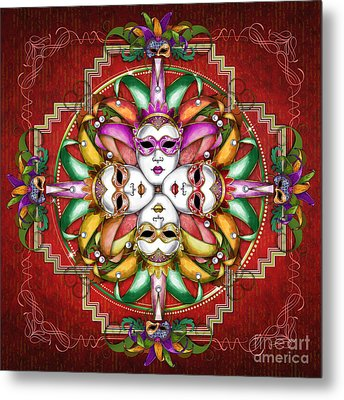 Mandala Festival Masks V2 Metal Print
