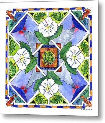Mandala IIi - White Hibiscus Metal Print by Diane Thornton