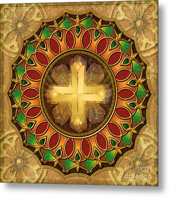 Mandala Illuminated Cross Metal Print by Bedros Awak