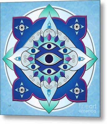 Mandala Of The Seven Eyes Metal Print by Bedros Awak