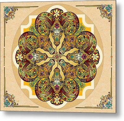 Mandala Sacred Rams - Bright Version Sp Metal Print