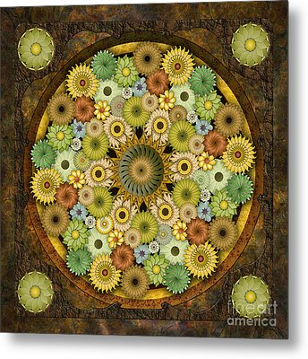 Mandala Stone Flowers Metal Print by Bedros Awak