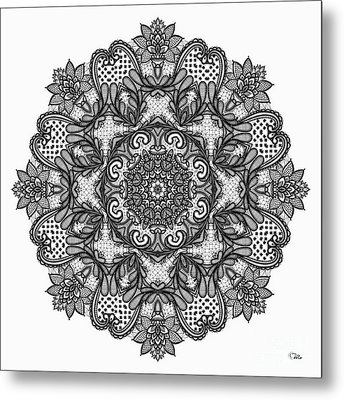 Metal Print featuring the digital art Mandala To Color 2 by Mo T