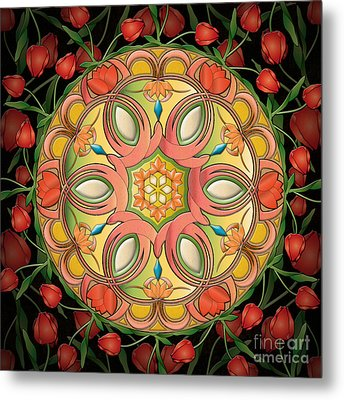 Mandala Tulipa Metal Print by Bedros Awak