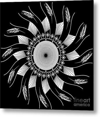 Metal Print featuring the digital art Mandala White And Black by Linda Lees