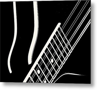 Metal Print featuring the digital art Mandolin Close Bw by Jana Russon