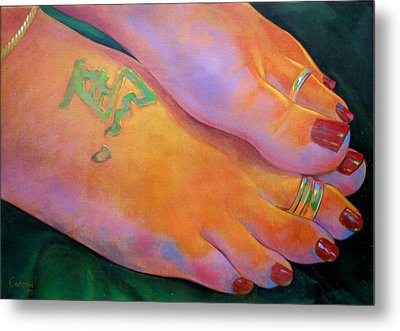 Mandy Toes Orange Metal Print by Jerrold Carton