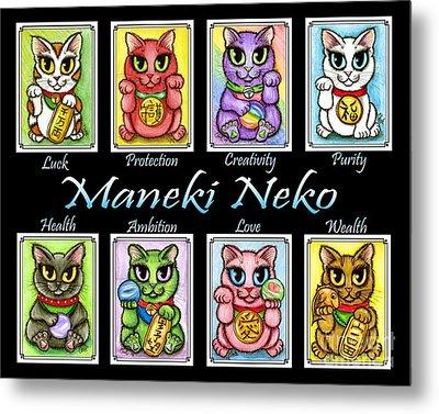 Metal Print featuring the painting Maneki Neko Luck Cats by Carrie Hawks