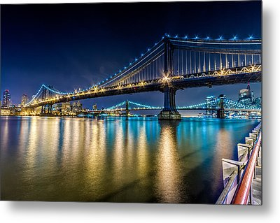 Manhattan And Brooklyn Bridges At Night. Metal Print