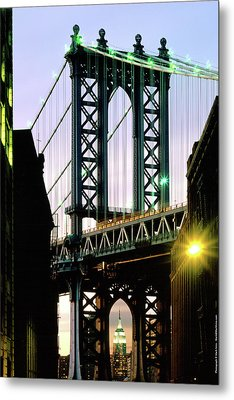 Manhattan Bridge And Empire State Building Metal Print by Mark Ivins