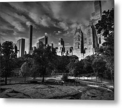 Manhattan - Central Park 001 Bw Metal Print