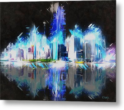Manhattan Downtown Lights Metal Print