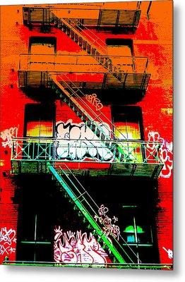 Manhattan Fire Escape Metal Print by Funkpix Photo Hunter