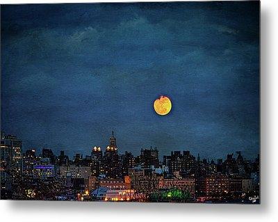 Manhattan Moonrise Metal Print by Chris Lord