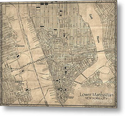 Manhattan New York Antique Vintage City Map Metal Print by ELITE IMAGE photography By Chad McDermott