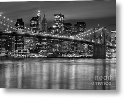 Manhattan Night Skyline Iv Metal Print by Clarence Holmes