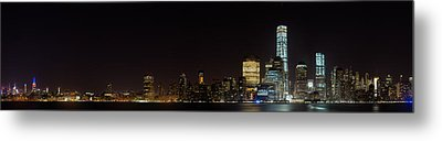 Manhattan Pano From The Hudson Metal Print by Andres Leon