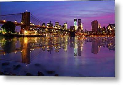Metal Print featuring the photograph Manhattan Reflection by Mircea Costina Photography