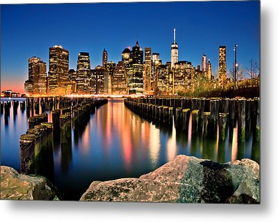 Manhattan Skyline At Dusk Metal Print