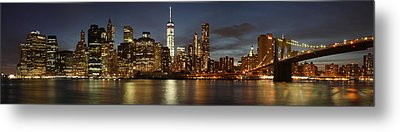 Metal Print featuring the photograph Manhattan Skyline At Night - Panorama by Nathan Rupert