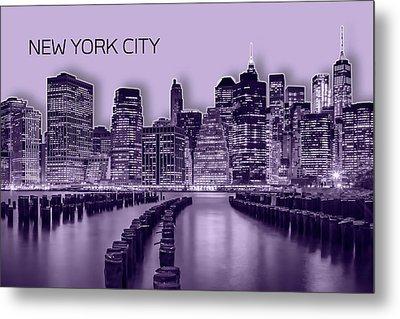 Manhattan Skyline - Graphic Art - Purple Metal Print by Melanie Viola