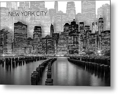 Manhattan Skyline - Graphic Art - White Metal Print by Melanie Viola