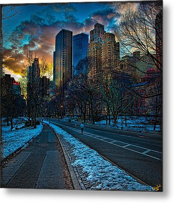 Manhattan Sunset Metal Print by Chris Lord