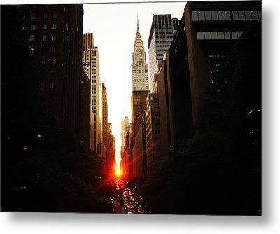 Manhattanhenge Sunset Over The Heart Of New York City Metal Print by Vivienne Gucwa