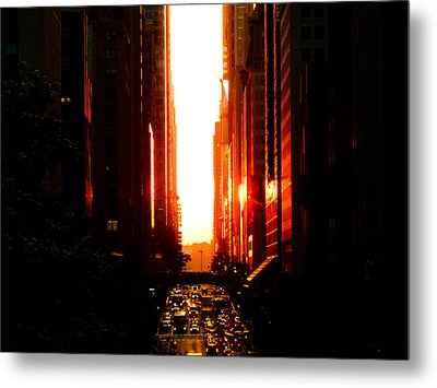 Manhattanhenge Sunset Overlooking Times Square - Nyc Metal Print by Vivienne Gucwa