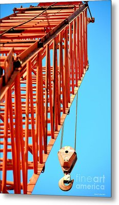 Manitowoc Red Boom Block And Hook Metal Print