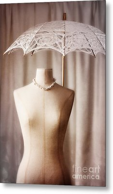 Mannequin With Parasol Metal Print