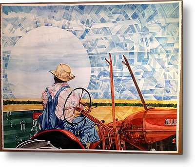 Manny During Wheat Harvest Metal Print by Lance Wurst
