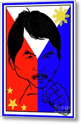 Manny Pacquiao Iron Fist Metal Print