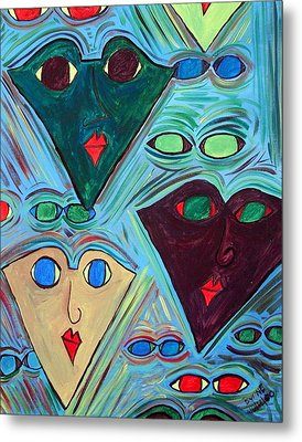 Many Faces Blue Metal Print by Margie  Byrne