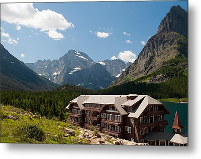 Many Glacier Hotel Metal Print by Bruce Gourley