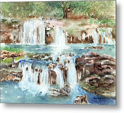 Metal Print featuring the painting Many Waterfalls by Arline Wagner