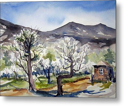 Metal Print featuring the painting Manzanar Orchard by Pat Crowther
