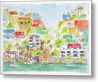 Metal Print featuring the painting Manzanillo Coastline by Pat Katz