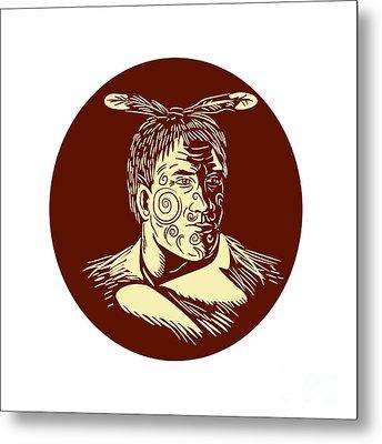 Maori Chieftain Head Oval Woodcut Metal Print by Aloysius Patrimonio