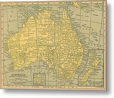 Metal Print featuring the drawing Map Australia by Digital Art Cafe