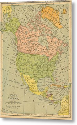 Metal Print featuring the drawing Map North America 1909 by Digital Art Cafe
