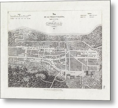Metal Print featuring the drawing Map Of Agana Village Guam by A Berard
