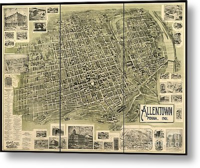 Map Of Allentown Pennsylvania  Metal Print by Pd