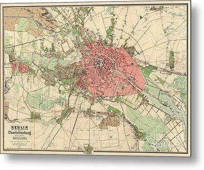 Map Of Berlin, 1857 Metal Print