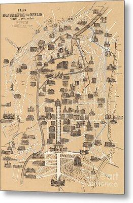 Map Of Berlin, 1860 Metal Print