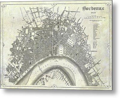 Map Of Bordeaux Circa 1840 Metal Print